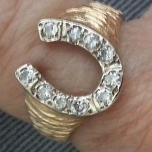 Jewelry - 14K Yellow and White Gold Diamond Horseshoe Ring
